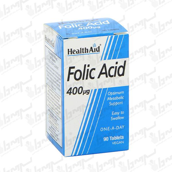 قرص فولیک اسید 400 میکروگرم هلث اید | 90 عدد