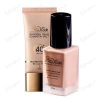 کرم پودر حاوی ضد آفتاب مدیسان پوست چرب و حساس SPF 40