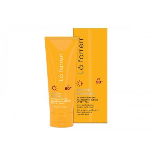 کرم ضد آفتاب و ضد لک بی رنگ مخصوص پوست خشک و معمولی +SPF50 لافارر