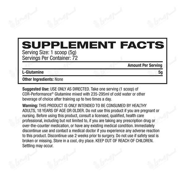 پودر گلوتامین کور پرفورمنس سلوکور | 360 گرم | 72 سروینگ | بدون طعم