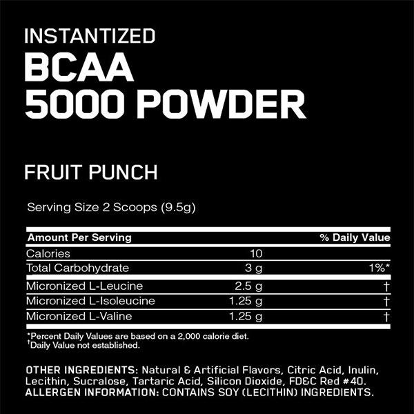 پودر آمینو اسید شاخه ای (بی سی ای ای 5000) اپتیموم نوتریشن | 380 گرم | چند میوه